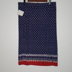 NWT Liz Claiborne Knit Pencil Skirt Blue Red XL